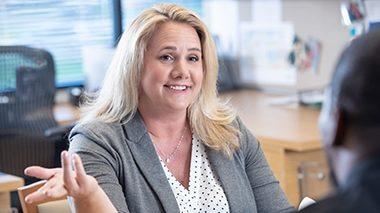 Rebecca Sposita speaking in her office at The Sam Bernstein Law Firm in Farmington Hills, Michigan