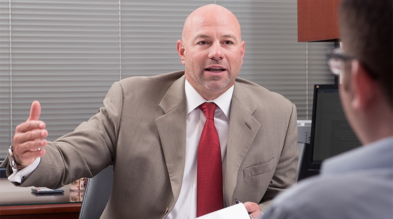Attorney Joseph Ceglarek speaking in his office at The Sam Bernstein Law Firm in Farmington Hills, Michigan