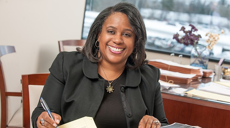 Attorney Lee'ah Basemore in her office at The Sam Bernstein Law Firm in Farmington Hills, Michigan