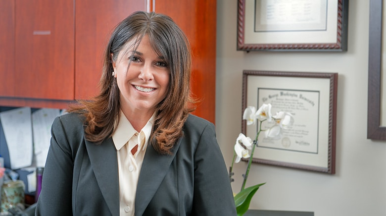 Attorney Lorie Lieberman in her office at The Sam Bernstein Law Firm in Farmington Hills, Michigan