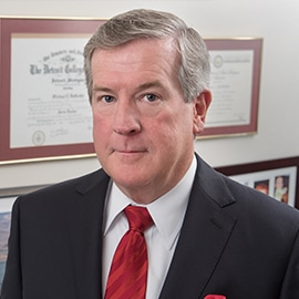 Attorney Michael Battersby in his office at The Sam Bernstein Law Firm in Farmington Hills, Michigan