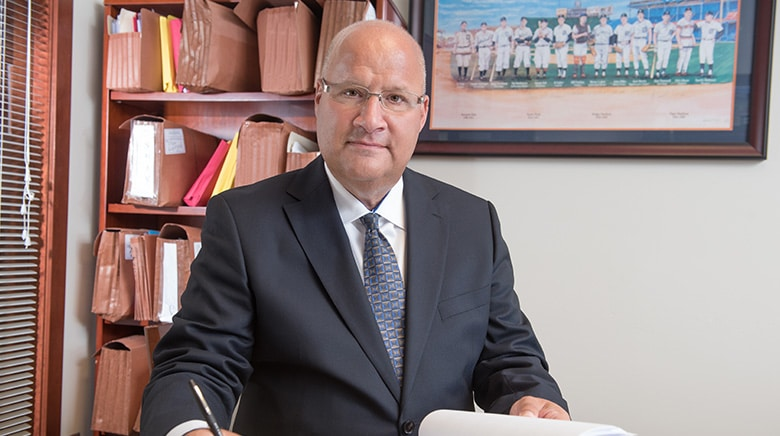 Attorney Michael Weisserman working in his office at The Sam Bernstein Law Firm in Farmington Hills, Michigan