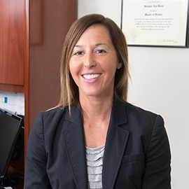 Attorney Stefanie Fryer in her office at The Sam Bernstein Law Firm in Farmington Hills, Michigan