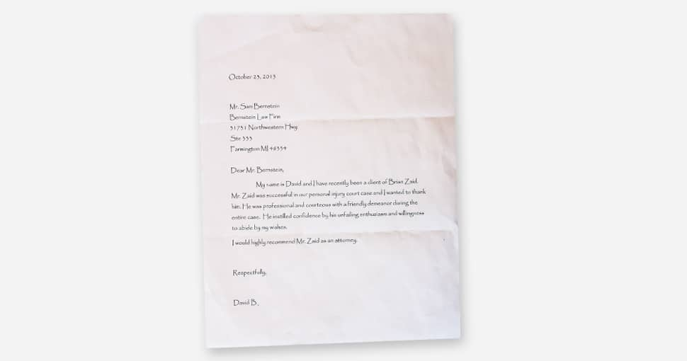 Client letter from David B