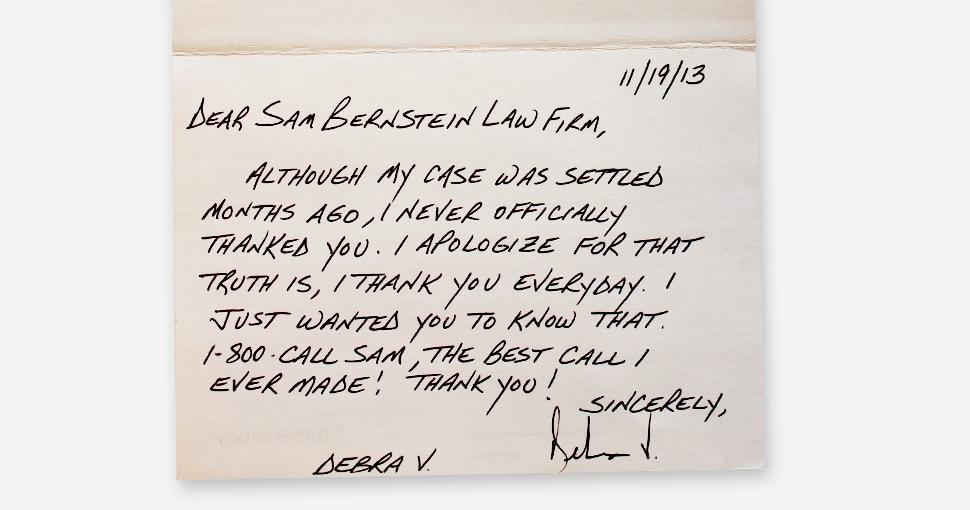 Client letter from Debra V