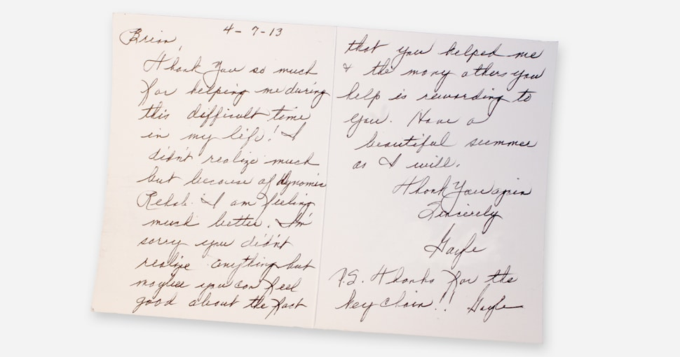 Client letter from Gayle P