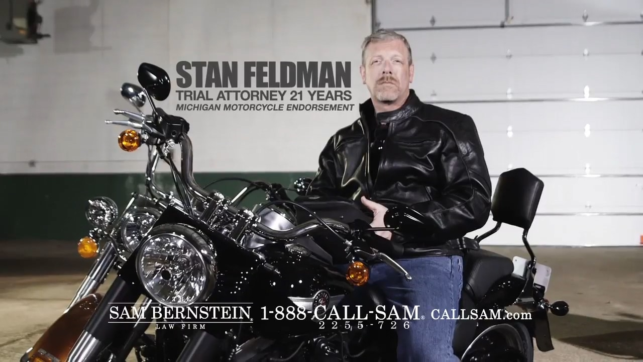 Attorney Stan Feldman on a motorcycle