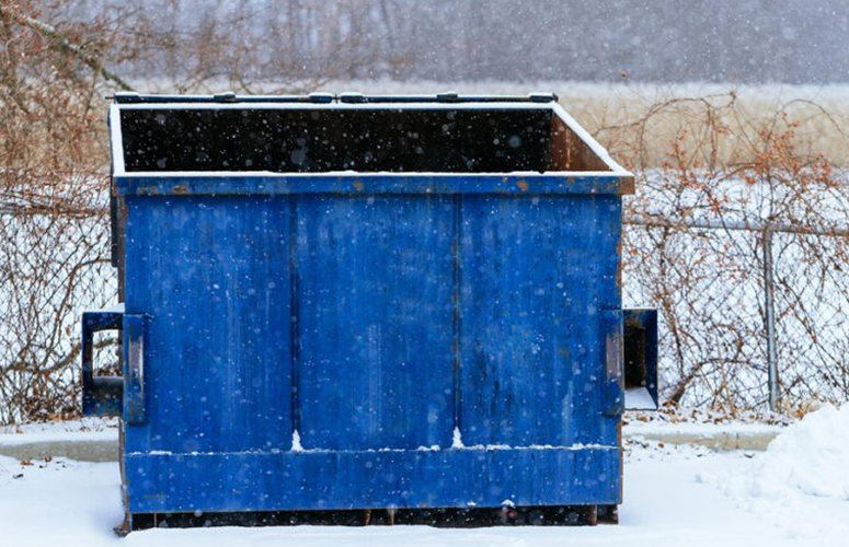 dumpster in winter