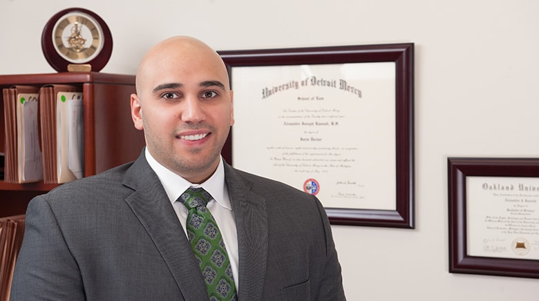 Attorney Alexander Kassab in his office at The Sam Bernstein Law firm in Farmington Hills, Michigan