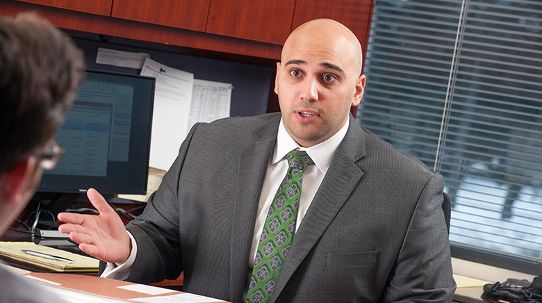 Attorney Alexander Kassab speaking in his office at The Sam Bernstein Law firm in Farmington Hills, Michigan