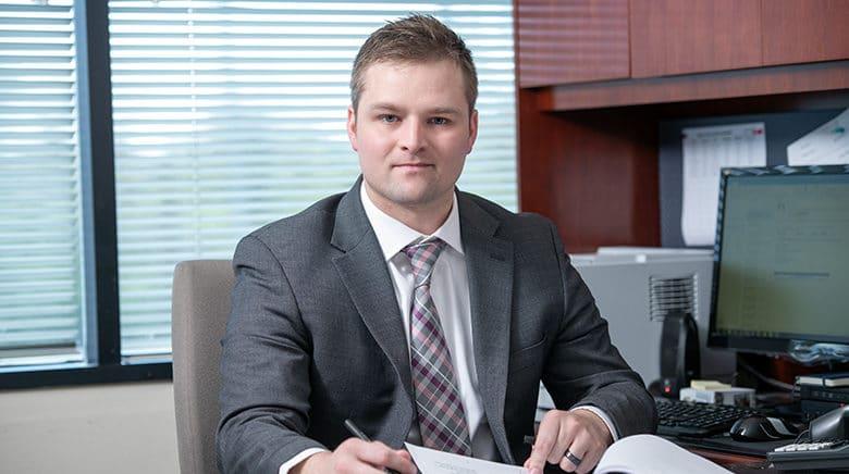 Attorney Mark Sisson in his office at The Sam Bernstein Law Firm in Farmington Hills, Michigan