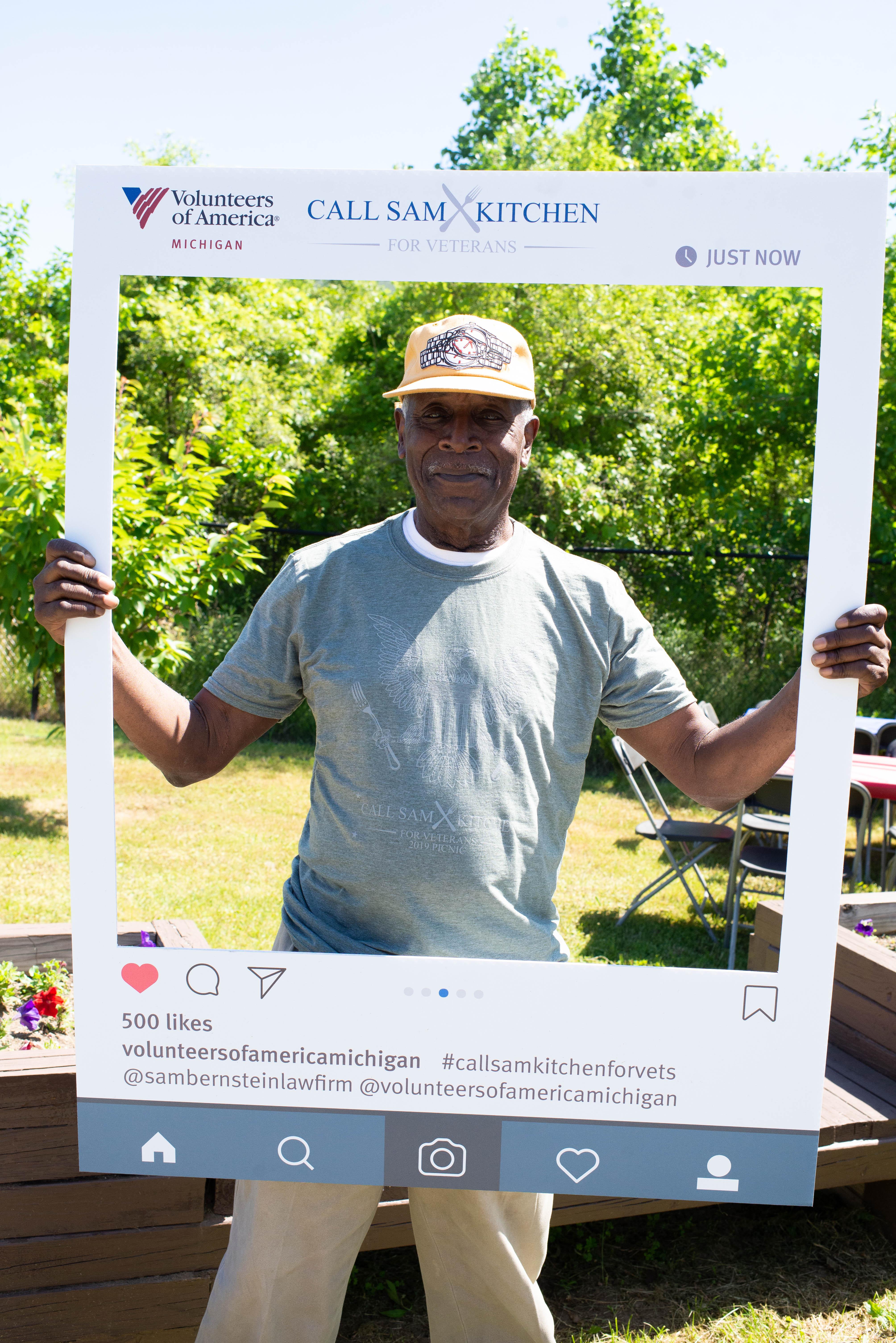 veteran posing for camera at second annual veteran picnic