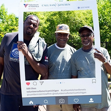Veterans posing for The Call Sam Kitchen Second Annual Veteran Picnic