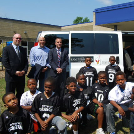 <h5>SAM BERNSTEIN LAW FIRM DONATES VAN TO PAL PROGRAM</h5><hr /><p>Together with CBS Eco Media, our firm purchased a 15-passenger van to transport local kids to safe play spaces created by Detroit PAL, a non-profit organization that serves more than 14,000 children each year.</p>